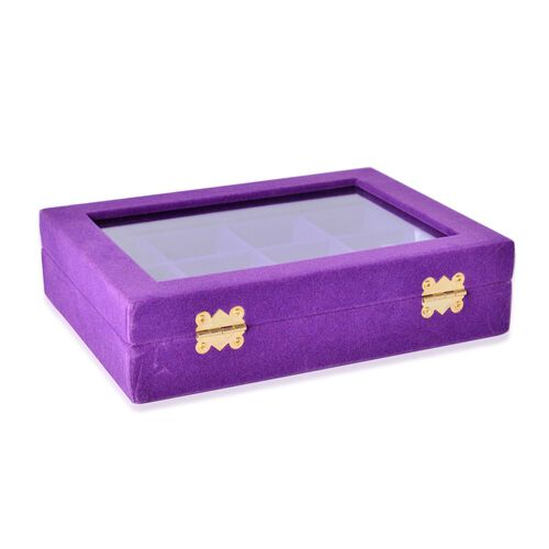 Purple Colour 12 Sections Velvet Jewelry Box  with Anti Tarnish Treatment (Size 20X15X4.5 Cm)