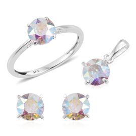 J Francis Crystal from Swarovski - AB Crystal (Rnd) Solitaire Ring, Pendant and Stud Earrings (with Push Back) in Sterling Silver