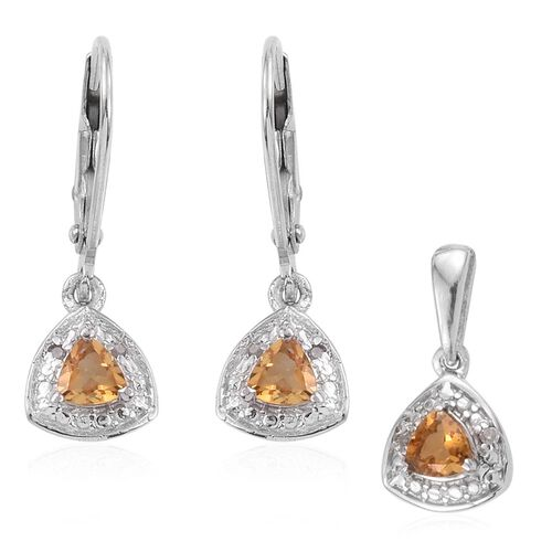 Madeira Citrine 0.65 Carat Trillion Pendant and Earrings Silver Set in Platinum Overlay with Diamonds