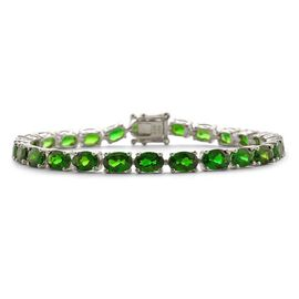 Russian Diopside (Ovl) Bracelet in Platinum Overlay Sterling Silver (Size 7) 15.250 Ct.