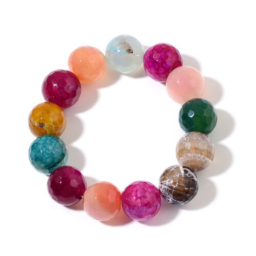 Multi Agate Stretchable Bracelet (Size 7.5) 330.000 Ct.