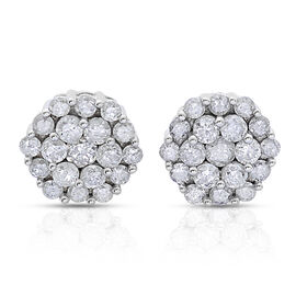 9K W Gold SGL Certified Diamond (Rnd) (I3/G-H) Stud Earrings (with Push Back) 1.000 Ct.