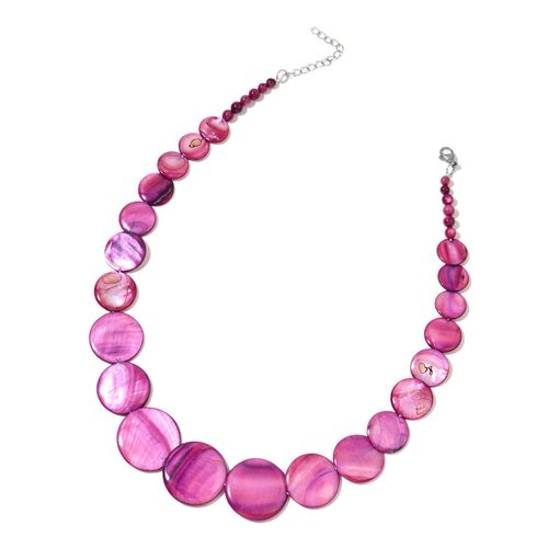 Purple Shell Coin Necklace (Size 18 with 2 inch Extender), Stretchable Bracelet (Size 7) and Hook Earrings in Stainless Steel 462.000 Ct.