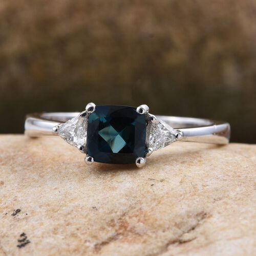 ILIANA 18K White Gold 1 Carat Brazilian Indicolite Cushion, Diamond SI G-H Ring.