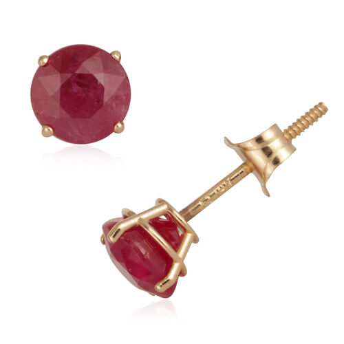 Close Out Deal 14K Y Gold AAA Burmese Ruby (Rnd) Earrings 1.440 Ct.