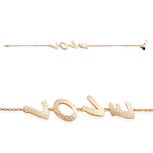 Close Out Deal 14K Gold Overlay Sterling Silver Adjustable Love Bracelet (Size 8), Silver wt 3.80 Gms.