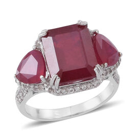 African Ruby (Oct 9.15 Ct), Natural Cambodian White Zircon Ring in Rhodium Plated Sterling Silver 12.970 Ct.