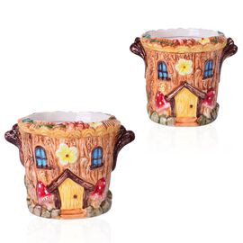 Home Decor - Set of 2 - Ceramic Round House Flower Pot (Large Size 13.5x11.5x11.5 Cm) and (Small Size 12x9.5x9.5 Cm)