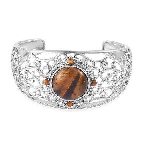 Tigers Eye Cuff Bangle (Size 7) in Silver Tone 25.000 Ct.