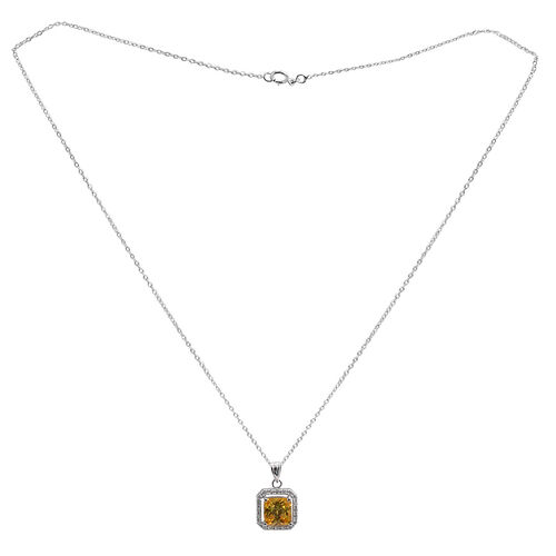 ELANZA AAA Simulated Citrine (Sqr), Simulated White Diamond Pendant With Chain (Size 18) in Rhodium Plated Sterling Silver