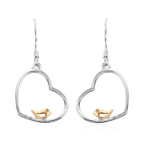 Bird in Heart Earrings in Platinum and Yellow Gold Overlay Sterling Silver with Lever Back3.29 Gms.
