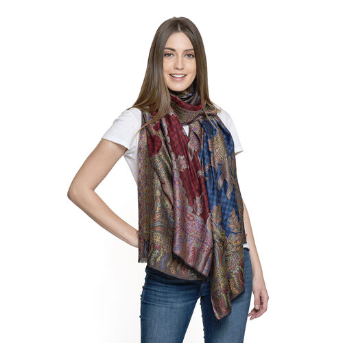 100% Modal Black, Blue, Red and Multi Colour Jacquard Scarf (Size 190x70 Cm)