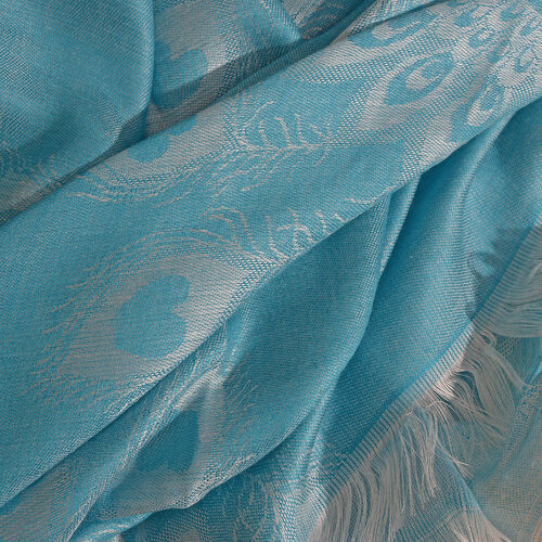 Peacock Feather Pattern Island Paradise Colour Reversible Scarf (Size 180x70 Cm)