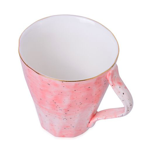 3 Pcs. Hand-Painted Porcelain Breakfast Set in Pink with Gold Trimming, Oval Plate (30x18 cm), Bowl (13x5 cm), Mug (10x10 cm)