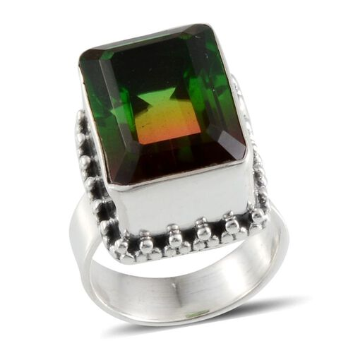 Tourmaline Colour Quartz (Cush) Solitaire Ring in Sterling Silver 9.970 Ct.