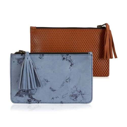 Set of 2 - Genuine Leather Blue Colour Marble Print and Chocolate Colour Tassel Pouch with Card Slot inside (Size 19.5x12.5 Cm)