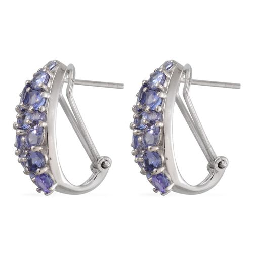 Tanzanite (Ovl) Earrings in Platinum Overlay Sterling Silver 5.750 Ct.