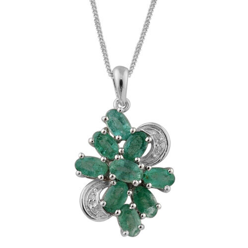 Kagem Zambian Emerald, White Topaz Platinum Overlay Sterling Silver Pendant With Chain 1.670 Ct.