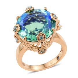 GP Peacock Quartz (Rnd 18.00 Ct), Kanchanaburi Blue Sapphire and Paraibe Apatite Ring in 14K Gold Overlay Sterling Silver 18.500 Ct.