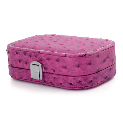Ostrich Pattern Pink Colour Jewellery Box with Mirror Inside (Size 15x10x5 Cm)