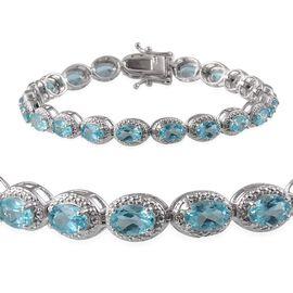 AA Paraibe Apatite (Ovl), Diamond Bracelet in Platinum Overlay Sterling Silver (Size 7) 8.650 Ct.