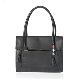 Limited Edition Genuine Leather RFID Blocker Black Colour Handbag (Size 32X25X8 Cm) with Tassel Charm