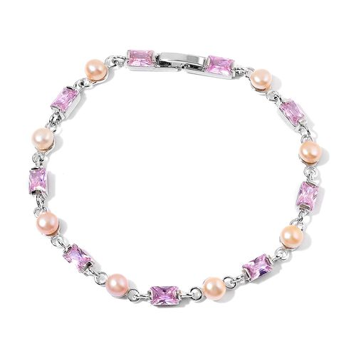 Fresh Water Pink Pearl and Simulated Pink Diamond Bracelet (Size 7.5) in Silver Tone