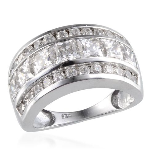 Simulated Diamond (Sqr) Ring in Platinum Overlay Sterling Silver