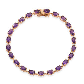 AA Lusaka Amethyst (Ovl) Bracelet (Size 7.5) in 14K Gold Overlay Sterling Silver 9.000 Ct.