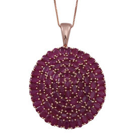 Burmese Ruby (Ovl) Cluster Pendant With Box Chain (Size 24) in Rose Gold Overlay Sterling Silver 25.000 Ct.