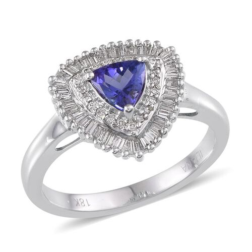 ILIANA 18K W Gold AAA Tanzanite (Trl 0.75 Ct), Diamond Ring 1.250 Ct.