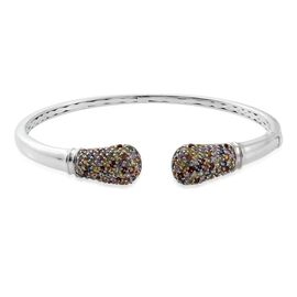 AAA Rainbow Sapphire (Rnd) Torque Bangle (Size 7.5) in Platinum Overlay Sterling Silver 4.000 Ct. No Of Sapphires 136 pcs