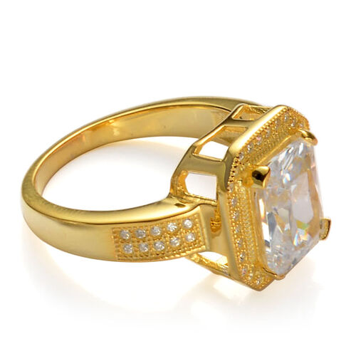 AAA Simulated White Diamond Ring in Yellow Gold Overlay Sterling Silver 10.000 Ct.