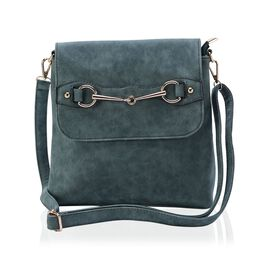 Green Colour Crossbody Bag with External Zipper Pocket and Adjustable and Removable Shoulder Strap (Size 28x26 Cm)