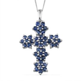 Kanchanaburi Blue Sapphire (Rnd) Floral Cross Pendant With Chain in Platinum Overlay Sterling Silver 4.250 Ct.