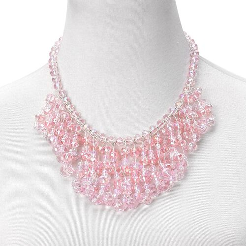 DOD - Simulated Pink Diamond Waterfall Necklace (Size 18 with 3 inch Extender) in Silver Tone