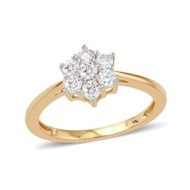 9K Yellow Gold SGL Certified Diamond (Rnd) (I3/G-H) 7 Stone Floral Ring 0.500 Ct.