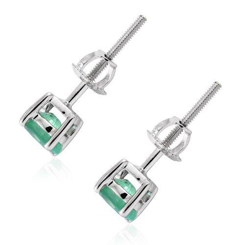ILIANA 18K White Gold 0.75 Carat AAA Boyaca Colombian Emerald Oval Stud Earrings with Screw Back