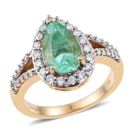 ILIANA 18K Y Gold Boyaca Colombian Emerald (Pear 2.25 Ct), Diamond (SI/G-H) Ring 2.750 Ct.