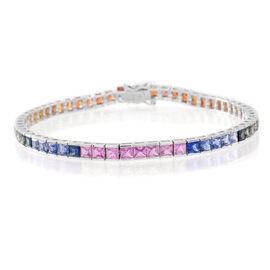 9K W Gold AA Rainbow Sapphire (Sqr) Tennis Bracelet (Size 7.5) 13.250 Ct.