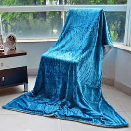 Superfine Microfibre Cloud Shaving Flannel Reversible Sherpa Blanket Sky Blue (Size 130x200 Cm)