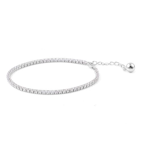 ELANZA AAA Simulated White Diamond Tennis Bracelet (Size 6 with 1 inch Extender) in Rhodium Plated Sterling Silver