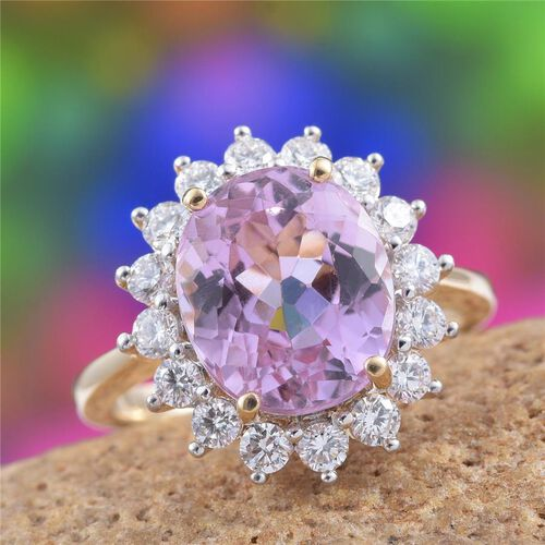 ILIANA 18K Y Gold AAAA Kunzite (Ovl 5.50 Ct), Diamond (SI/G-H) Ring 6.500 Ct.
