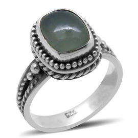 Royal Bali Collection Milky Aquamarine (Cush) Solitaire Ring in Sterling Silver 2.330 Ct.