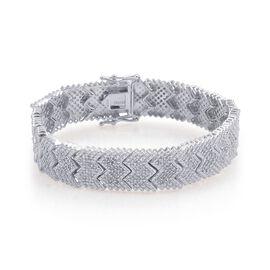Diamond (Rnd) Bracelet in Platinum Overlay Sterling Silver (Size 7.5) 2.000 Ct.
