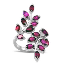 Burmese Ruby (Ovl) Leaves Crossover Ring in Rhodium Plated Sterling Silver 3.500 Ct.