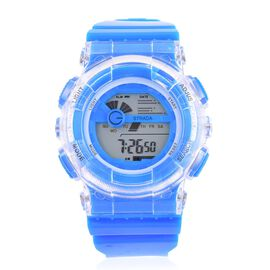 STRADA Electronic Movement 7 Colour Flashing LED Light Blue Colour Watch with Stainless Steel Back and Light Blue Silicone Strap