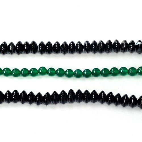 Black Onyx,Green Agate Enhanced Gemstone Chain (Beads)  550.000  Ct.