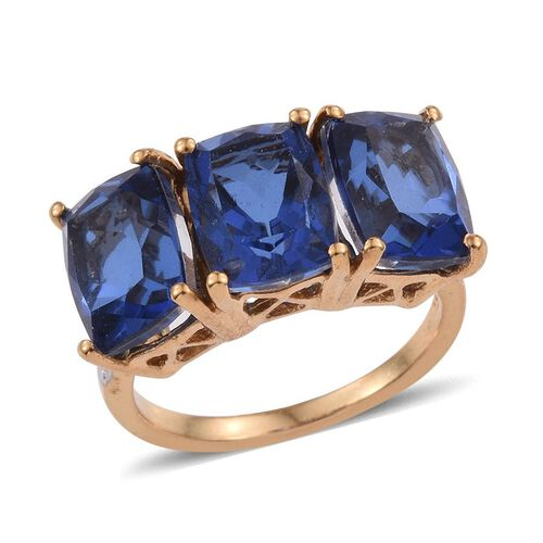 Ceylon Colour Quartz (Cush) Trilogy Ring in 14K Gold Overlay Sterling Silver 8.000 Ct.