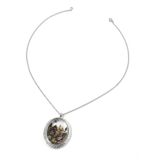 Multi Tourmaline and Glass Pendant in Silver Tone with Stainless Steel Chain